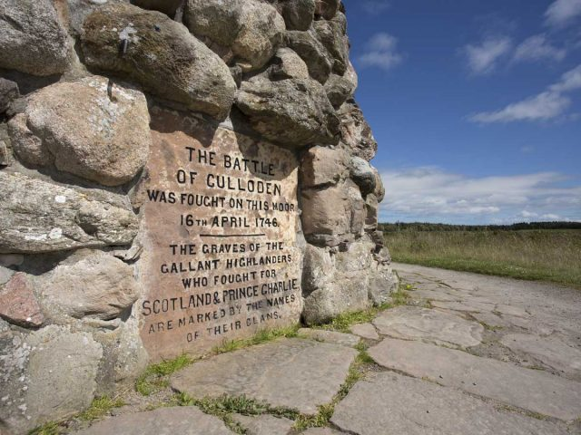 A detail of the inscription on the memorial cairn at Culloden Battlefield near Inverness, Highlands of Scotland