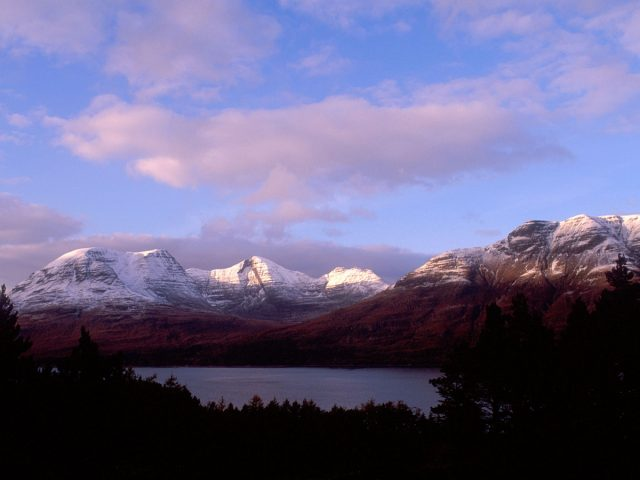 Looking over to Upper Loch Torridon to the snow dusted mountains beyond, Ross-shire