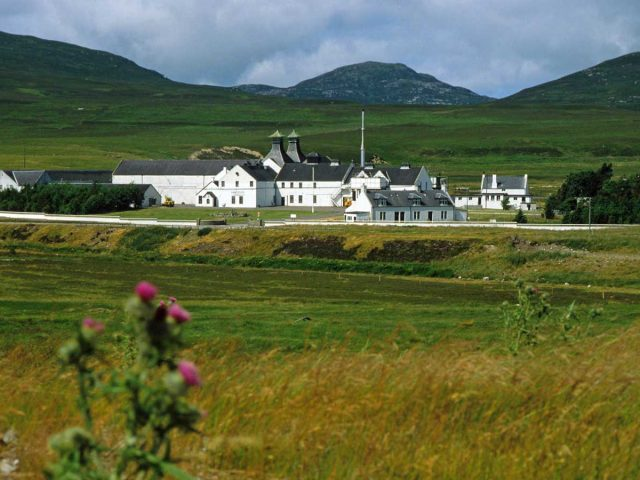 The Dalwhinnie distillery, Southwest of Kingussie in the Badenoch & Strathspey district, The Highlands