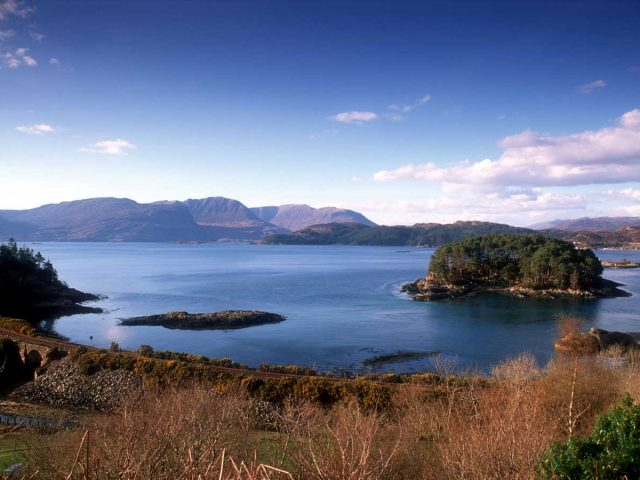 Looking down from Craig Highland Farm to small islands in Loch Carron, Ross-shire