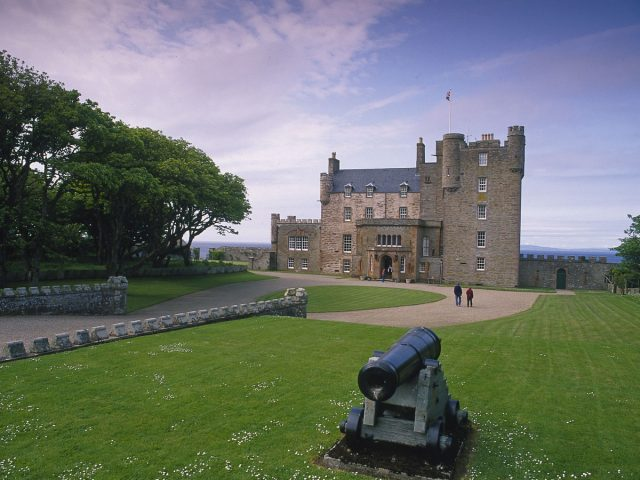 Looking over an ornamental canon to the Castle of Mey -The Highland Home of the Late Queen Mother, Caithness