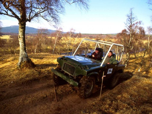 Off road driving at the Highland Drovers Centre, Boat of Garten, Speyside, Highlands