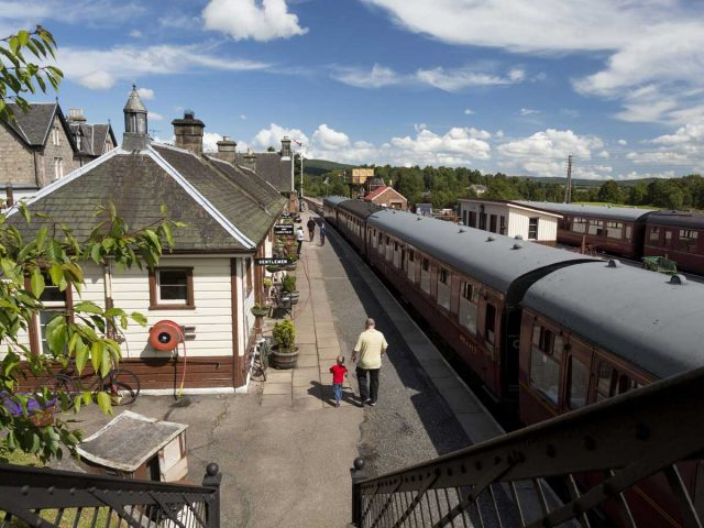 The Strathspey Steam Railway - a train at Boat of Garten Railway Station, Boat Of Garten, Highlands of Scotland