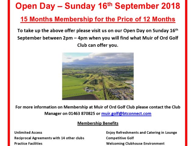 Muir of Ord Open Day – 16th September, 2 – 4pm