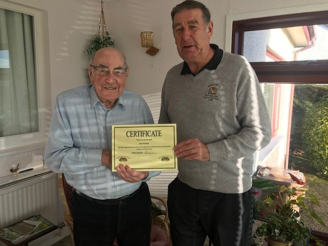Muir of Ord Golf Club honorary member Ken Mackay and outgoing captain Hamish Milne